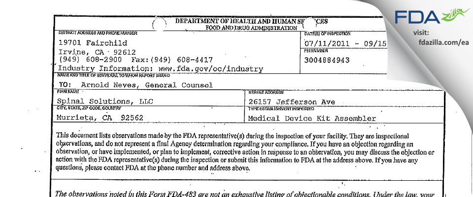 Spinal Solutions FDA inspection 483 Sep 2011