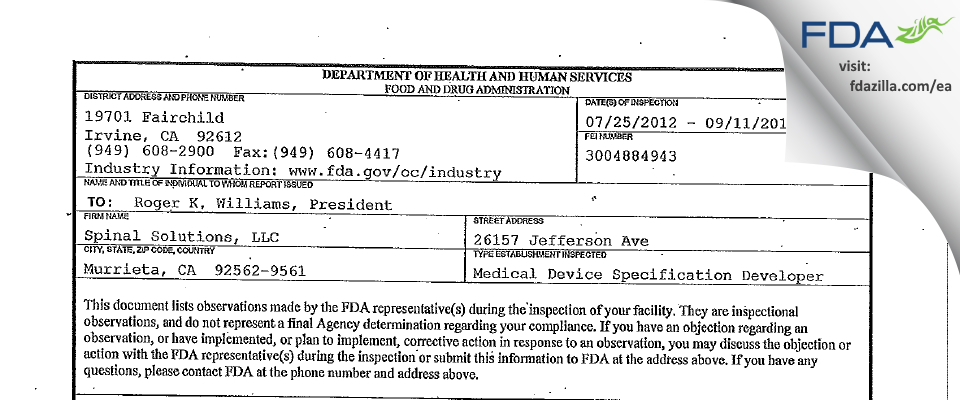 Spinal Solutions FDA inspection 483 Sep 2012