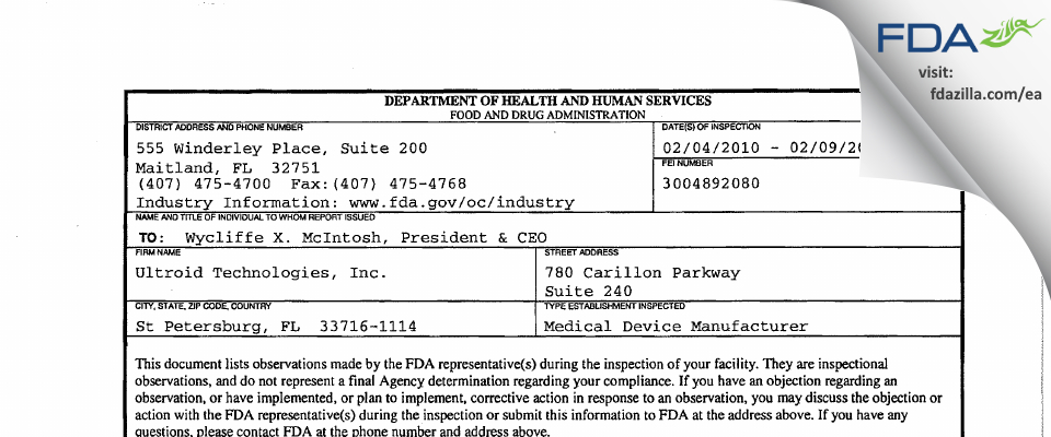 Ultroid Technologies FDA inspection 483 Feb 2010
