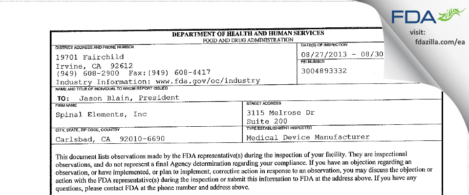 Spinal Elements FDA inspection 483 Aug 2013