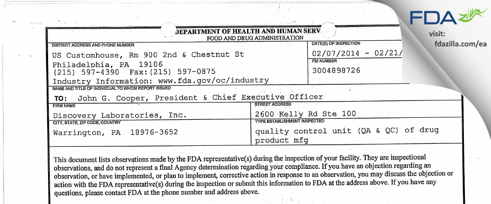 Discovery Labs FDA inspection 483 Feb 2014