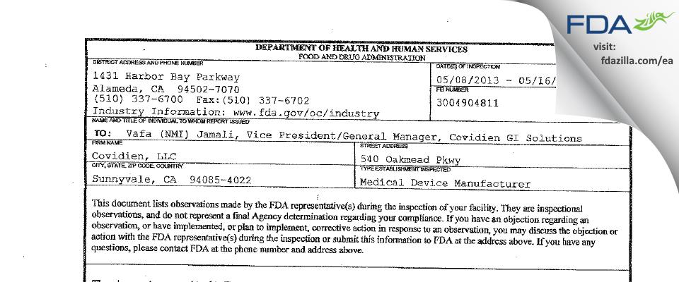 Covidien FDA inspection 483 May 2013