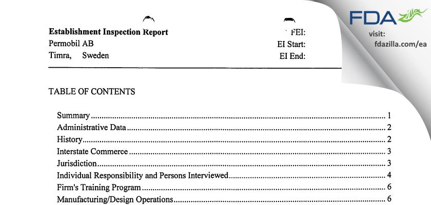 Permobil AB FDA inspection 483 Feb 2016