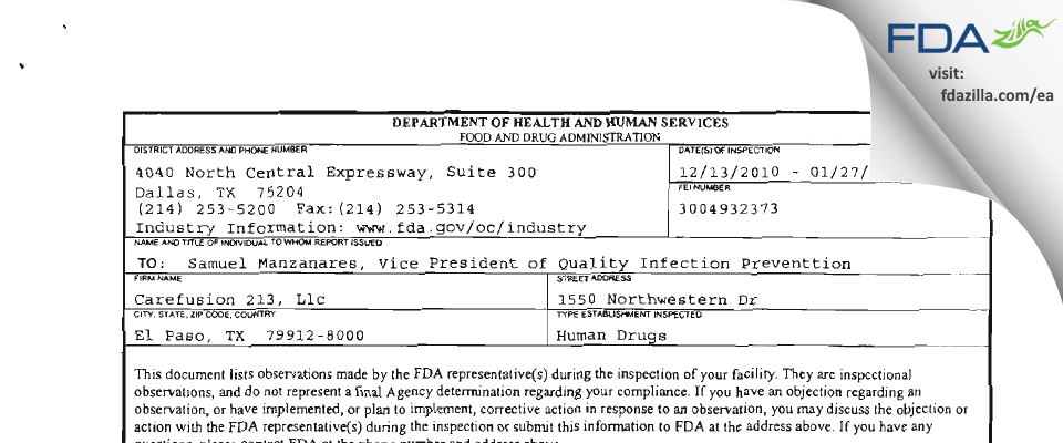 CareFusion 213 FDA inspection 483 Jan 2011