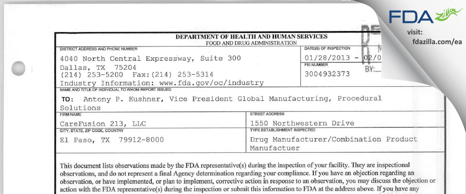 CareFusion 213 FDA inspection 483 Feb 2013