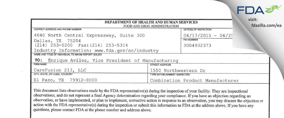 CareFusion 213 FDA inspection 483 Jun 2015