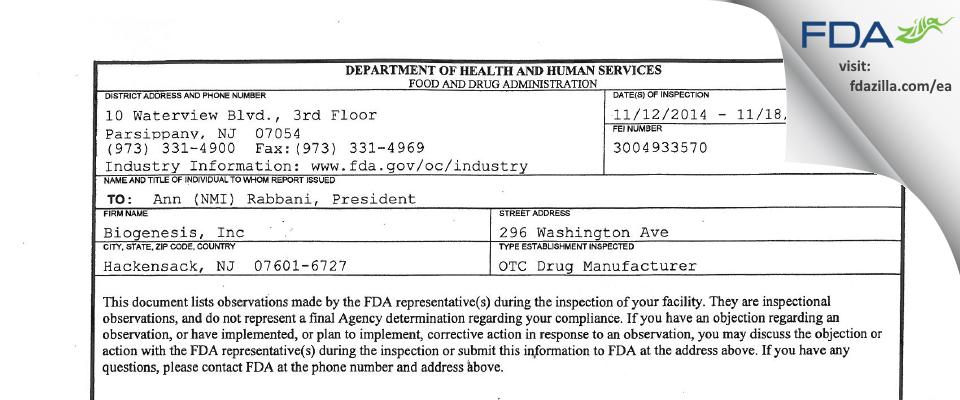 Biogenesis FDA inspection 483 Nov 2014