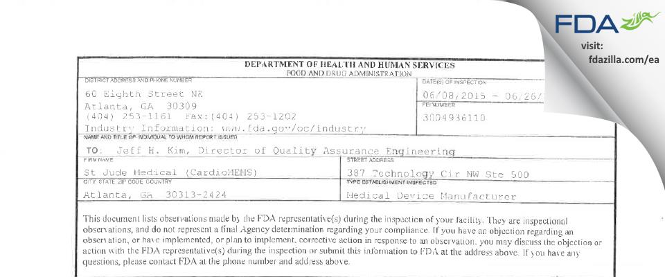 Abbott Labs FDA inspection 483 Jun 2015