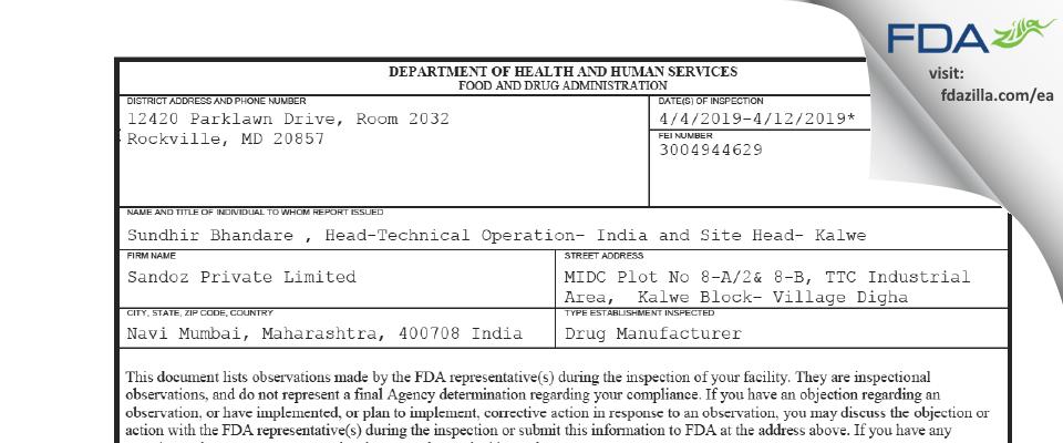 Sandoz Private FDA inspection 483 Apr 2019