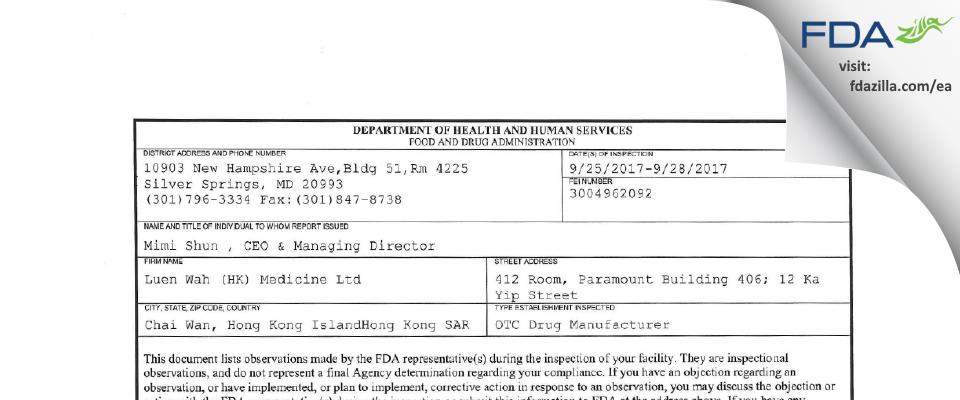 Luen Wah (HK) Medicine FDA inspection 483 Sep 2017