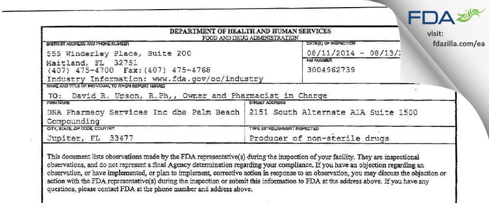 DNA Pharmacy Services dba Palm Beach Compounding FDA inspection 483 Aug 2014