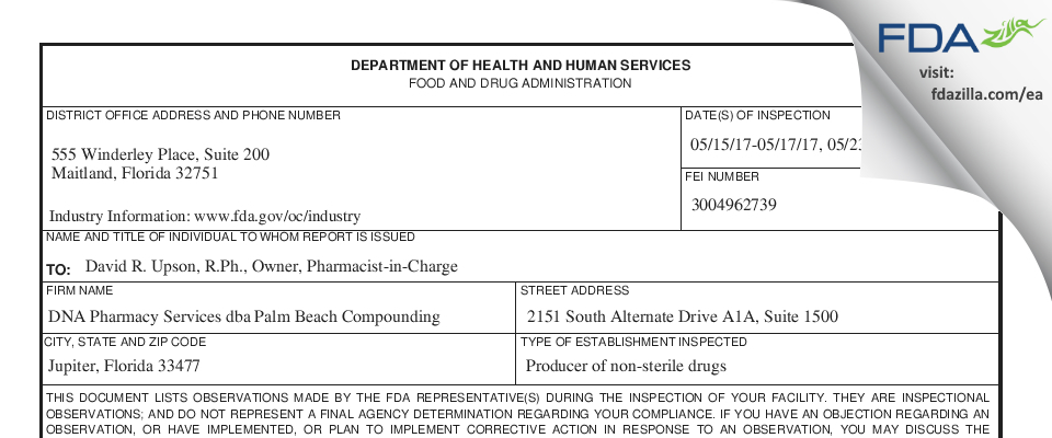 DNA Pharmacy Services dba Palm Beach Compounding FDA inspection 483 May 2017