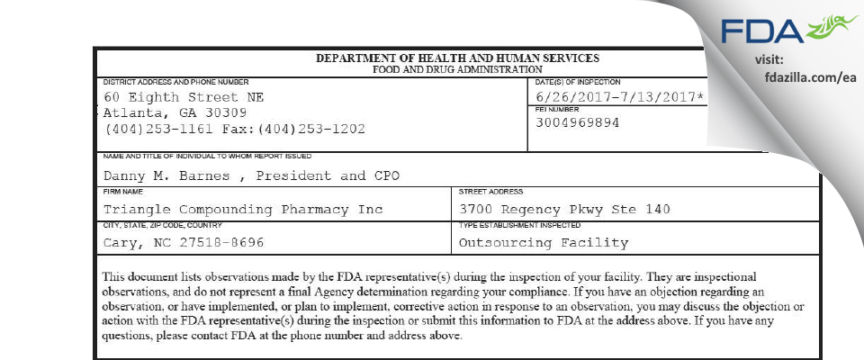 Triangle Compounding Pharmacy FDA inspection 483 Jul 2017