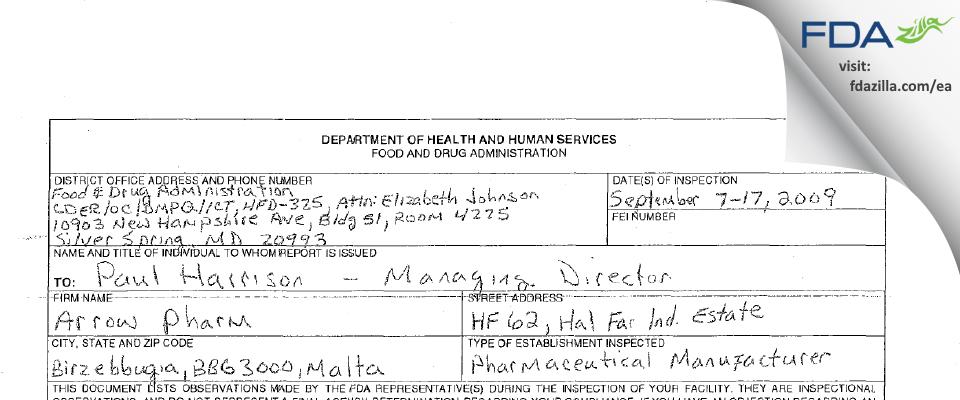 Arrow Pharm FDA inspection 483 Sep 2009