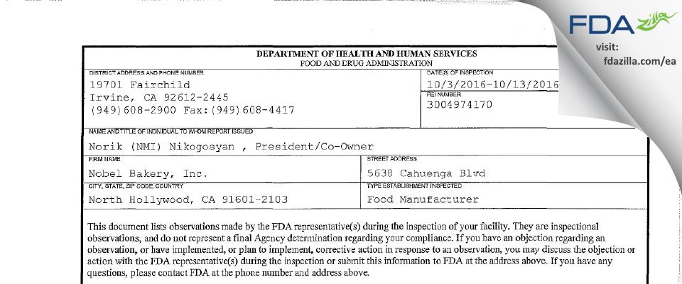 Nobel Bakery FDA inspection 483 Oct 2016