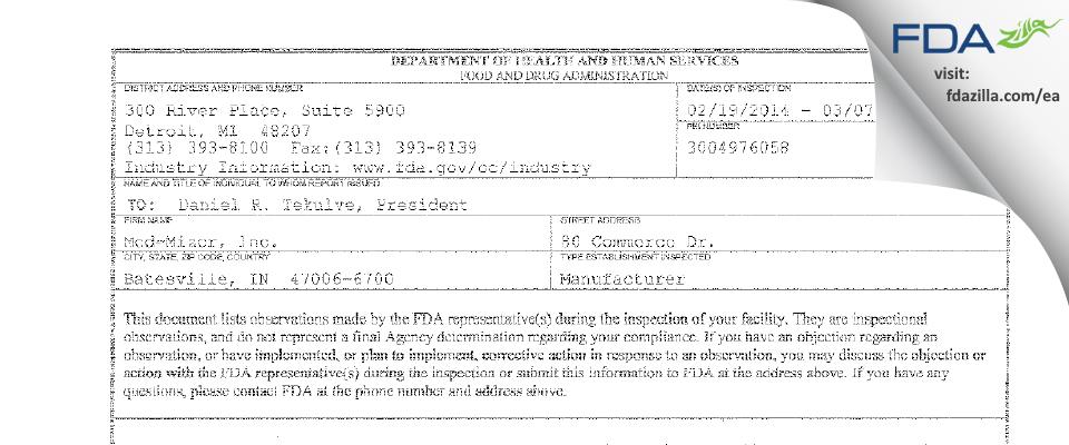 Med-Mizer FDA inspection 483 Mar 2014