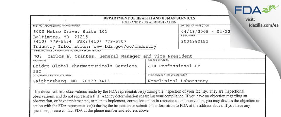 Avanza Development Services FDA inspection 483 Apr 2009