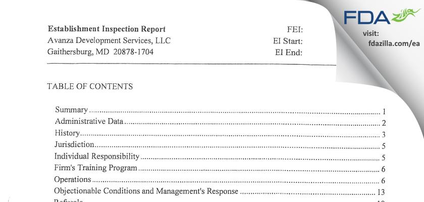 Avanza Development Services FDA inspection 483 Aug 2013
