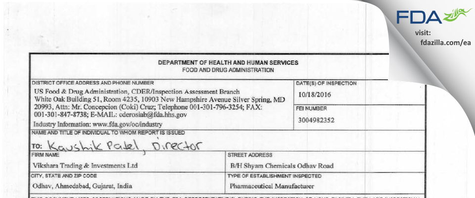 Vikshara Trading & Investments FDA inspection 483 Oct 2016