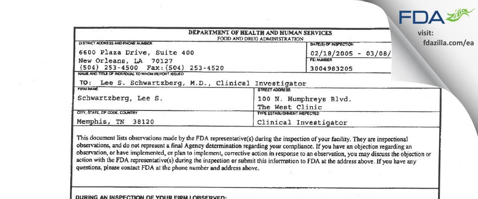 Schwartzberg, Lee S. FDA inspection 483 Mar 2005