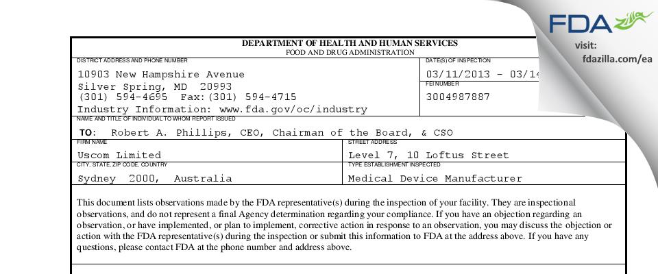 Uscom FDA inspection 483 Mar 2013