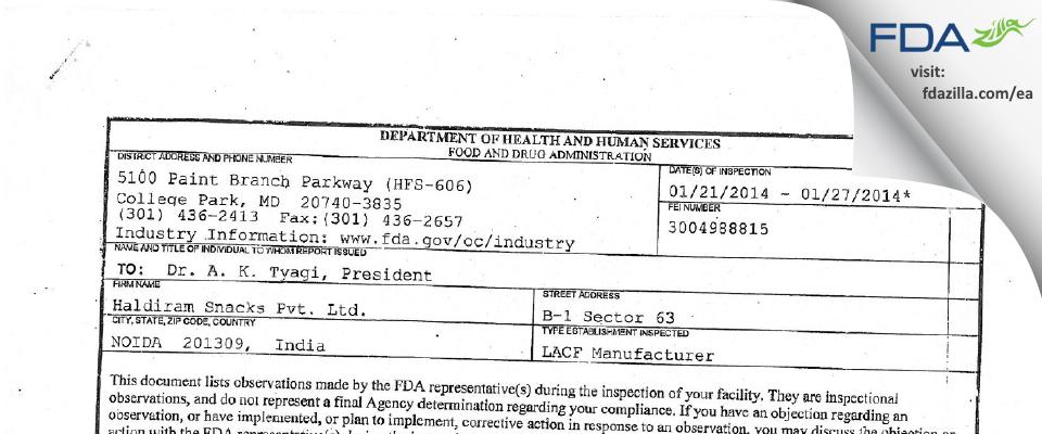 Haldiram Snacks FDA inspection 483 Jan 2014