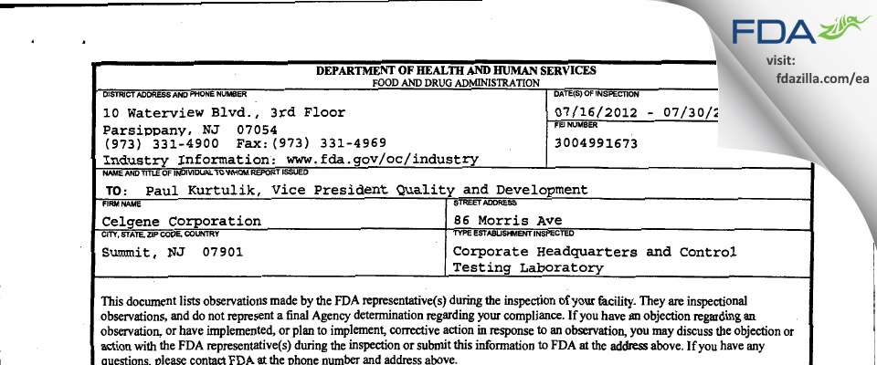 Celgene FDA inspection 483 Jul 2012