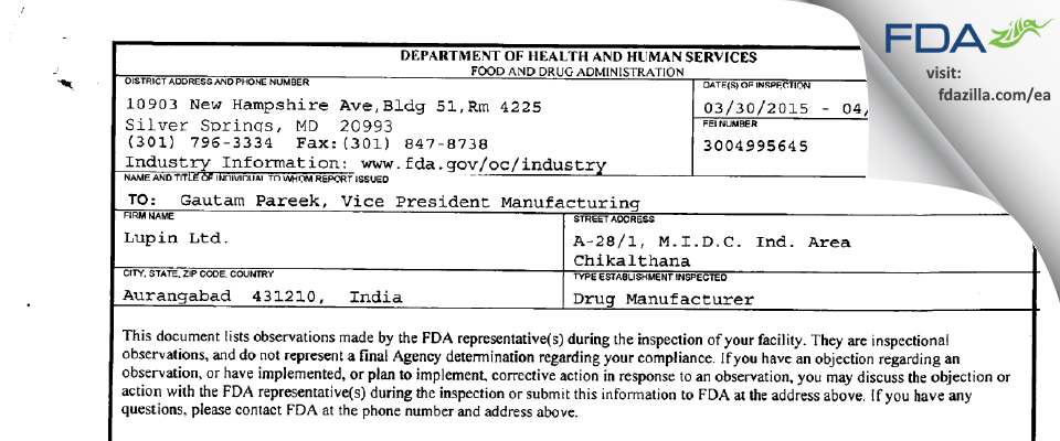 Lupin FDA inspection 483 Apr 2015