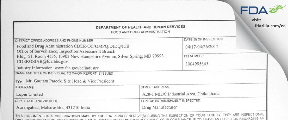 Lupin FDA inspection 483 Apr 2017