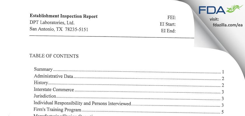 DPT Labs FDA inspection 483 Apr 2013