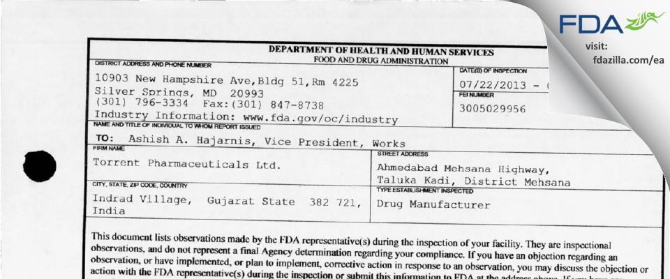Torrent Pharmaceuticals FDA inspection 483 Jul 2013