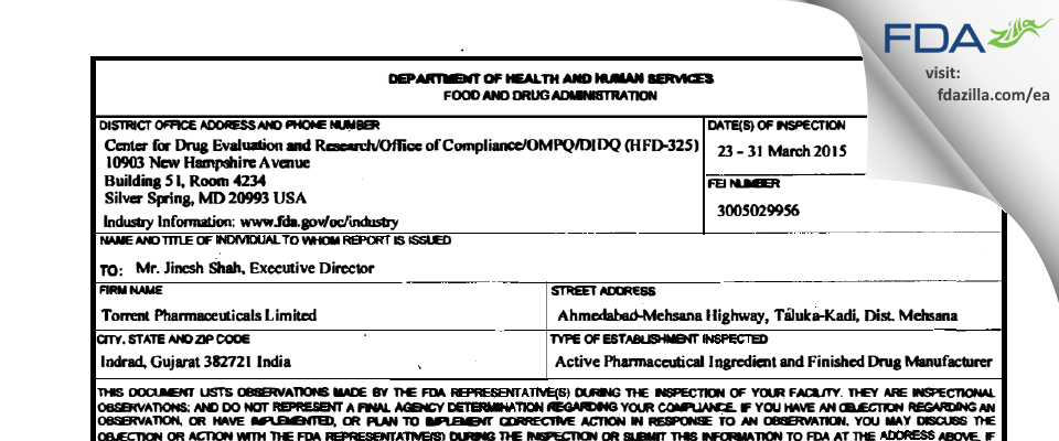 Torrent Pharmaceuticals FDA inspection 483 Mar 2015