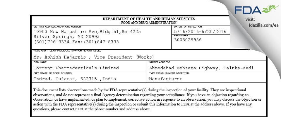 Torrent Pharmaceuticals FDA inspection 483 May 2016