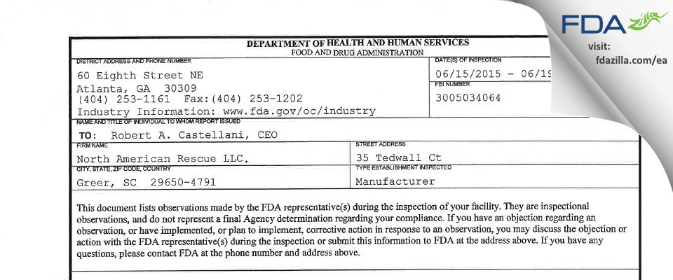 North American Rescue. FDA inspection 483 Jun 2015