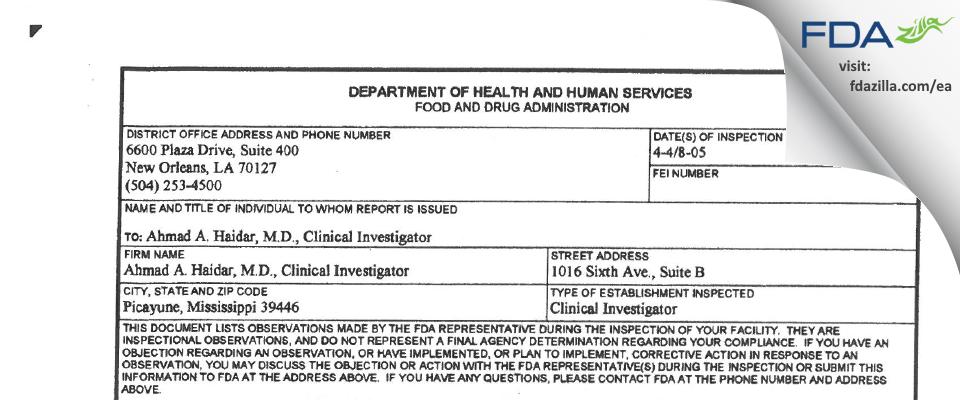 Haidar, Ahmad A., M.D., Clinical Investigator FDA inspection 483 Apr 2005