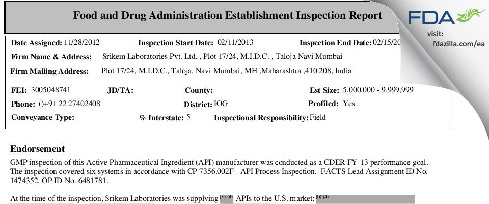Srikem Labs FDA inspection 483 Feb 2013