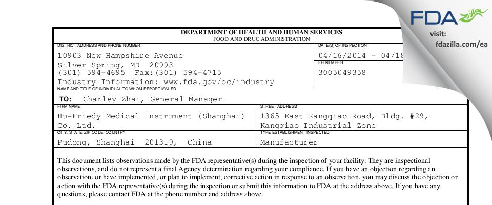 Hu-Friedy Medical Instrument (Shanghai) FDA inspection 483 Apr 2014