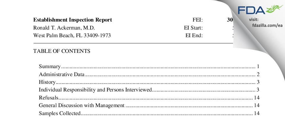 Ronald T. Ackerman, M.D. FDA inspection 483 May 2017