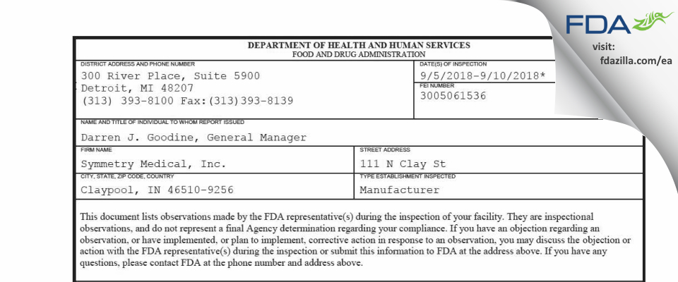 Symmetry Medical FDA inspection 483 Sep 2018