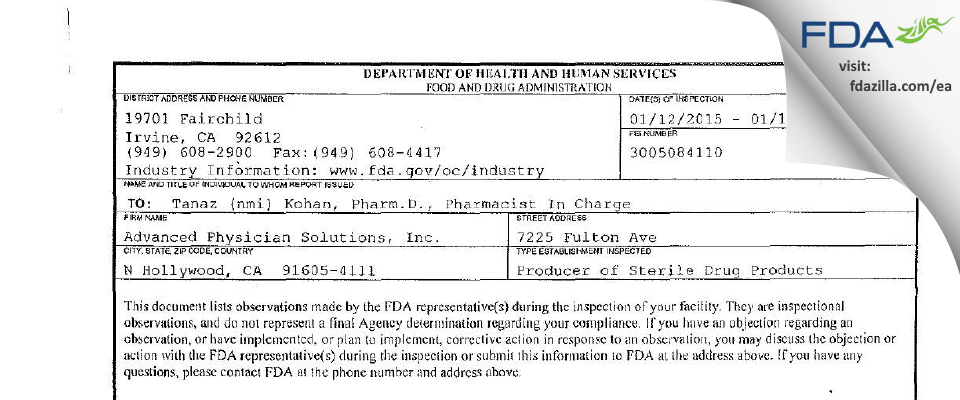 Advanced Physician Solutions FDA inspection 483 Jan 2015