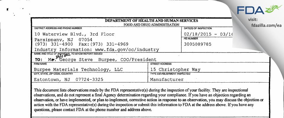 Burpee Materials Technology FDA inspection 483 Mar 2015