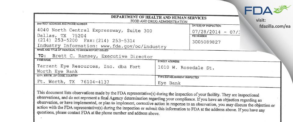 Tarrant Eye Resources dba Fort Worth Eye Bank FDA inspection 483 Jul 2014