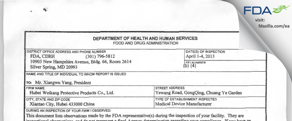 Hubei Weikang Protective Products FDA inspection 483 Apr 2013