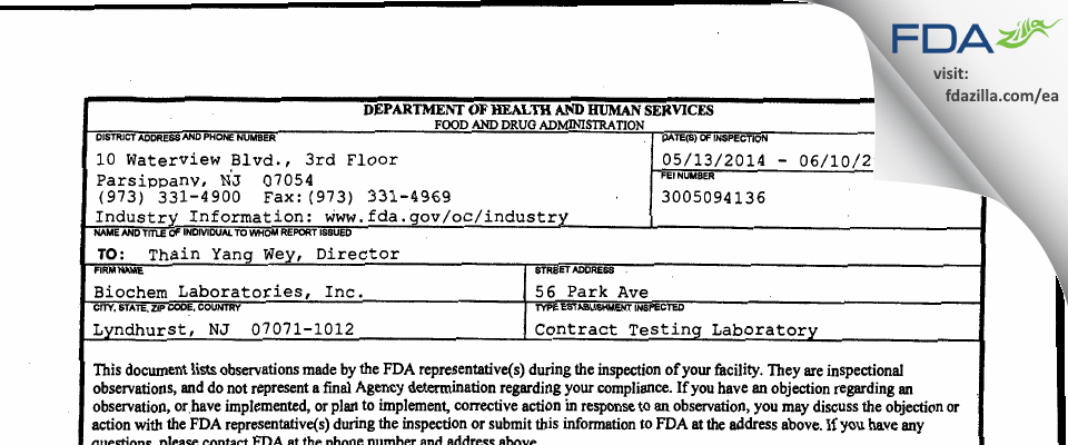 Biochem Labs FDA inspection 483 Jun 2014