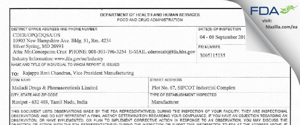 Malladi Drugs & Pharmaceuticals FDA inspection 483 Sep 2017