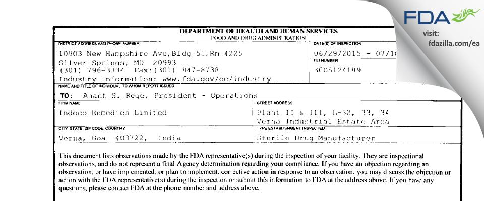 Indoco Remedies FDA inspection 483 Jul 2015