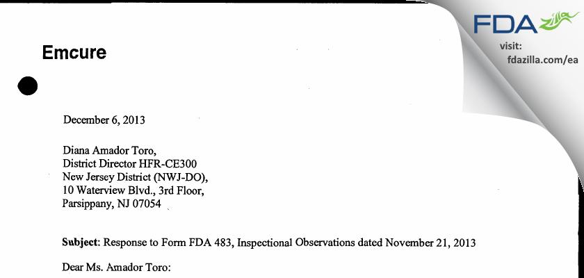 Heritage Pharmaceuticals FDA inspection 483 Nov 2013