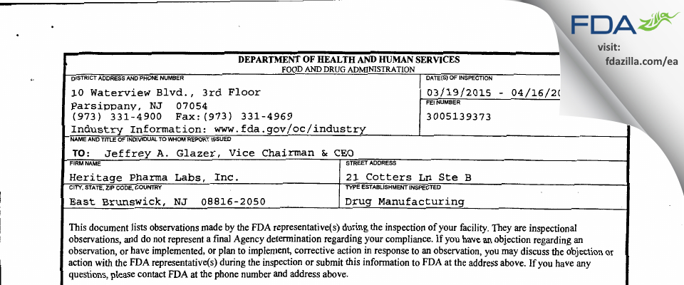 Heritage Pharmaceuticals FDA inspection 483 Apr 2015