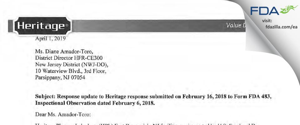 Heritage Pharmaceuticals FDA inspection 483 Feb 2018