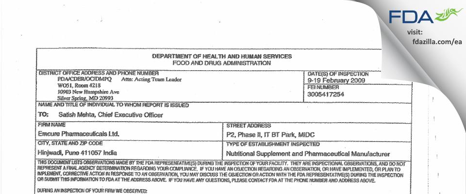 Emcure Pharmaceuticals FDA inspection 483 Feb 2009